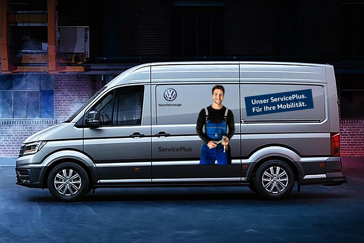 intonic werbeagentur vw nfz kampagne serviceplus fahrzeugbeschriftung